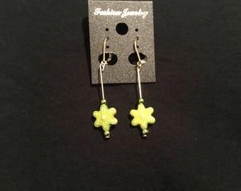 Beautiful green flower dangling earrings