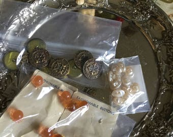 Vintage Three Package Lot of Assorted Buttons
