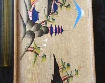 Vintage Wood Japan/Japanese Painted Scene Beverage/Drink/Serving Tray-Metal Handles