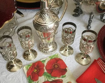 Holiday Imports Japan Heavy Silverplate Carafe Decanter  Wine/Liquor Cordial Glasses Grapes/Flowers/Leaves Design