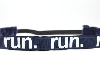 Navy Running Headband, Running Accessory, Gifts for Runners, Marathon Headband, Team Gift, Fitness Accessory, Nonslip Headband for Women