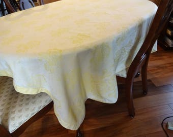 Vintage Yellow Linen Damask Tablecloth