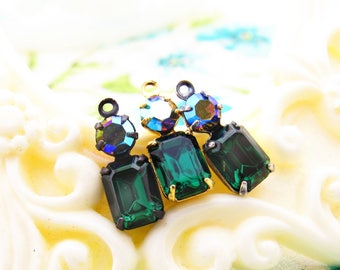 Vintage Faceted Emerald Green Octagon & Vitrail Swarovski Rhinestone Set Stones 16x6mm Drop or Connector Choice of Setting Finish - 2