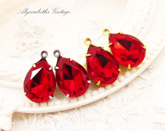 Swarovski Ruby Red 15x11mm Teardrop Glass Set Stones in Brass, Silver Ox, Matte Black or Antique Brass Settings - Pair