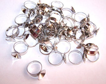 40 blank supports INCURVES 9 mm silver plated adjustable rings