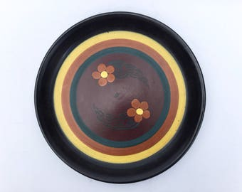 Dutch Gouda Eskaf plate, Art Nouveau art pottery serving dish, Tray, Platter Black Yellow Turquoise plate, Voku Flower daisy decorated plate