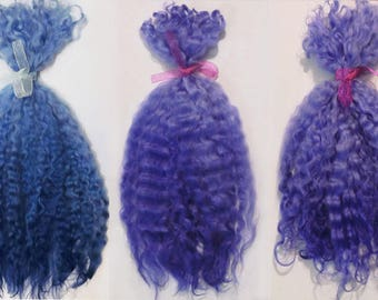"""Doll Hair 9-13"""" Violet-Blue-Premium,combed teeswater,long curls,mohair locks,Bjd wig,Blythe reroot,Pullip,Dollfie,Ever After High-Wool-Ombre"""