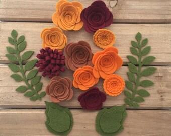 Handmade Wool Felt Flowers, Fall Colors