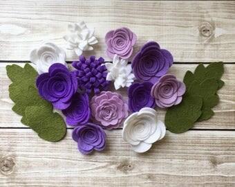 Handmade Wool Felt Flowers,  Purple, Violet and White