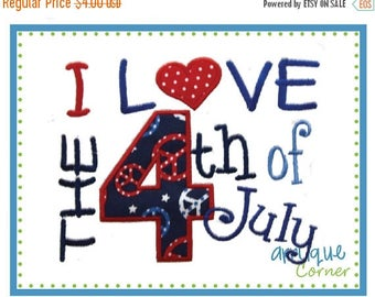 40% OFF INSTANT DOWNLOAD I Love the 4th of July applique design in digital format for embroidery machine by Applique Corner