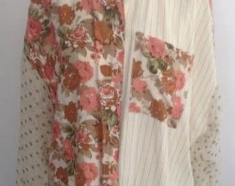 1990's floral pinstripe blouse