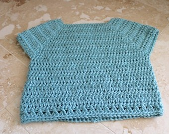 Crochet toddler sweater, seafoam green crochet sweater, size 18mo to 2T toddler sweater, handmade sweater, hand crocheted toddler sweater