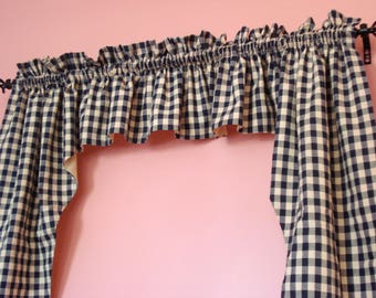 """Navy Blue and Off White Gingham Fully Lined Swag Valance  (80"""" x 37"""")"""