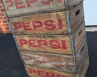 5 Vintage Weathered Faded Pepsi Cola Wood Soda Pop Crates