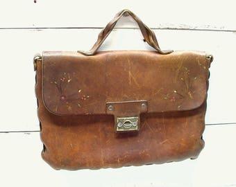 Vintage Leather Purse Handbag Pocketbook Hand Tooled