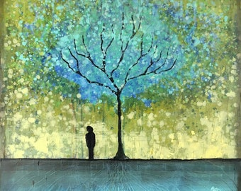 Left By The Wishing Tree Textured original painting by artist Rafi Perez Mixed Medium on Canvas 30X30