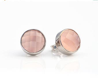 ON SALE Pink Chalcedony stud earrings - bezel set earrings - Stud Post Earrings - October Birthstone studs - birthday gifts for her - tiny s