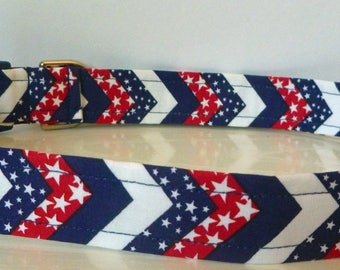 """Puppy Love Sale - 40% Off Dog Collar - Red, White & Blue Chervron Stars and Stripes -4th Of July """"Star Spangled"""""""