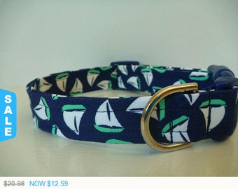 "Sale - 40% Off Dog Collar - Nautical Dog Collar - White & Turquoise Sail Boats on Navy Fabric -""Sail Away"" - NO"