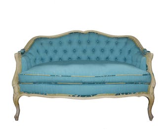 Victorian Blue Upholstered Tufted Settee Sofa Painted Off White