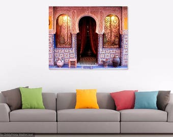 Moroccan Decor. Marrakesh, Morocco Door Photo Print. Colorful Tiles. Mosaic. Travel Photography. Blue. Orange. White. Marrakech. Home Decor.