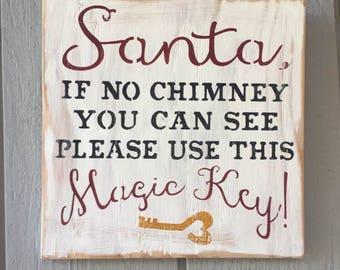 Santa Magic Key Wood Sign