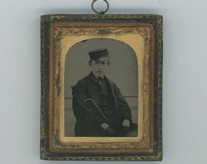 Antique Tintype in Frame: Boy with Cap, Cane & Gloves (76586)