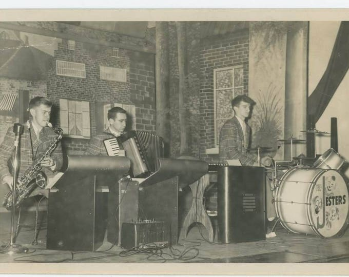 """The """"Jesters"""" On Stage, c1940s-50s: Vintage Snapshot Photo (710613 O/S)"""