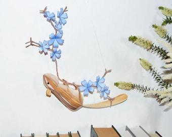 Chipmunk sculpture on a blue blossom branch, unique paper art, Nursery Wall Art woodland mobile, nature theme nursery