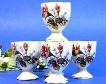 Five Rose Motif China Egg Cups Japan