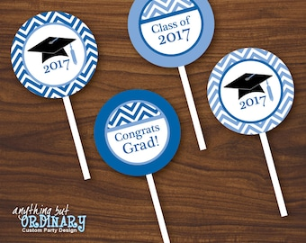 Printable Graduation Cupcake Toppers, 2017 Blue and White Chevron Party Circles, Favor Tags, INSTANT DOWNLOAD digital file