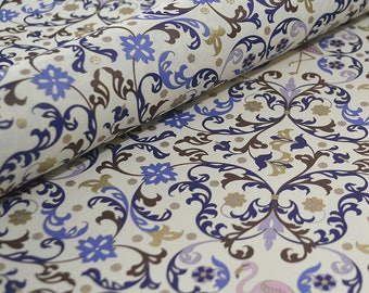 Italian Florentine Paper - Flamingos Blue and Lilac