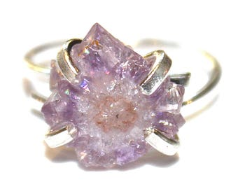 Tiny Purple Stalactite Ring Amethyst Stalactite Silver Ring Adjustable Druzy Ring Stalactite Jewelry Amethyst Jewelry Druzy Jewelry Drusy