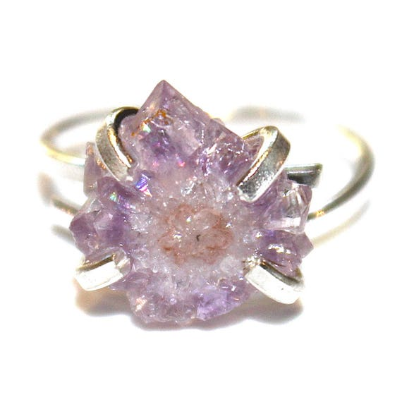 Tiny Purple Stalactite Ring in Silver