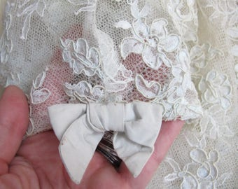 Chantilly Lace Blouse, Jacket, Top Chemise. Antique-Style Vintage Age. Wedding Lace Something Old. Satin Covered Buttons. As Is Antique LACE