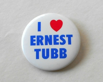 Vintage Button I Love / Heart Ernest Tubb Pin Badge Souvenir