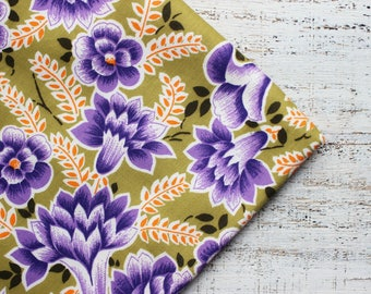 Vintage cotton fabric 3.12 yards olive green mustard purple lilac denim boho floral