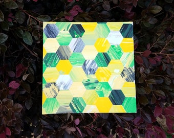 Hexagon Mosaic Art on Canvas Panel; Greens and Yellows with a Touch of Grey; OOAK