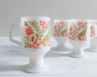 Set of Four Vintage Footed Milk Glass Mugs