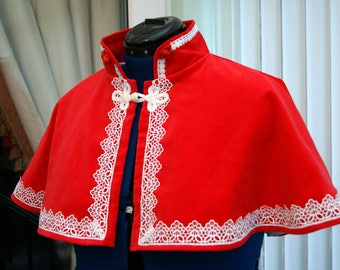 Xmas Red Velvet Cape Satin Lined Venise Lace and satin Rose bud trim Victorian Steampunk Goth Bridal OBSIDIAN