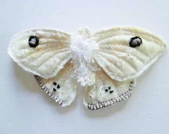 white soft sculpture butterfly / moth, nuno felted pin.