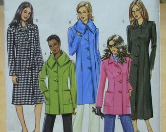 Free shipping! Butterick BP434 / 4665 Classic lined coat or jacket sewing pattern 8 10 12 14 UNCUT