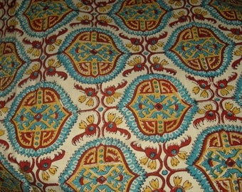 FREE SHIPPING! India style print cotton fabric. Over 4 yards.