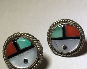 New old Stock Zuni Inlaid Sterling Earrings