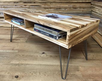 Boxer Mid Century Modern Coffee Table With Storage, Featuring Wormy Maple  And Hairpin Legs.