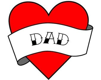 Dad Temporary Tattoo - Dad Tattoo - Fathers Day Temporary Tattoo - Father Temporary Tattoo -Temporary Tattoos Dad -heart tattoo -kids tattoo