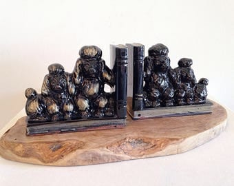 Mid Century Ceramic Poodles Bookends
