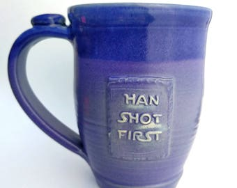 Han Shot First mug, Periwinkle Purple, #24, 22oz