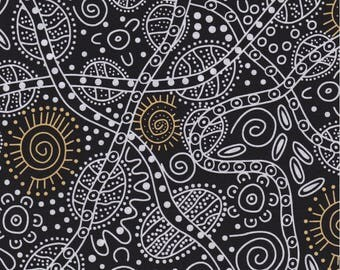 M & S Textiles, Australian Aboriginal Fabric, Bush Tucker, Black, 100% cotton
