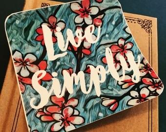 Live Simply Vinyl Sticker, Minimalist Sticker, Bumper Sticker, Bohemian Sticker, Hippie Stickers, Phone Sticker, Flower Car Decal